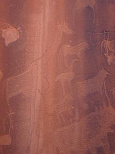 387_Twyfelfontein  Zieben Platten  Rock Engravings  Giraffe, Oryx Antelope, Helmeted Guineafowl