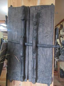 674_Banaue  Museum of Cordilleran Sculptures  Bontoc Granary Doors with Fetal Adult Figurines