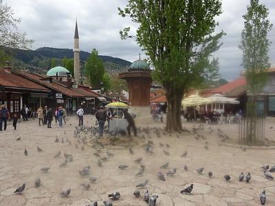 28_Sarajevo  Bascarsija is the heart of Old-Sarajevo  1462  In the center of it is the Sebilj (from Arabic word depicting a kiosk like public fountain)